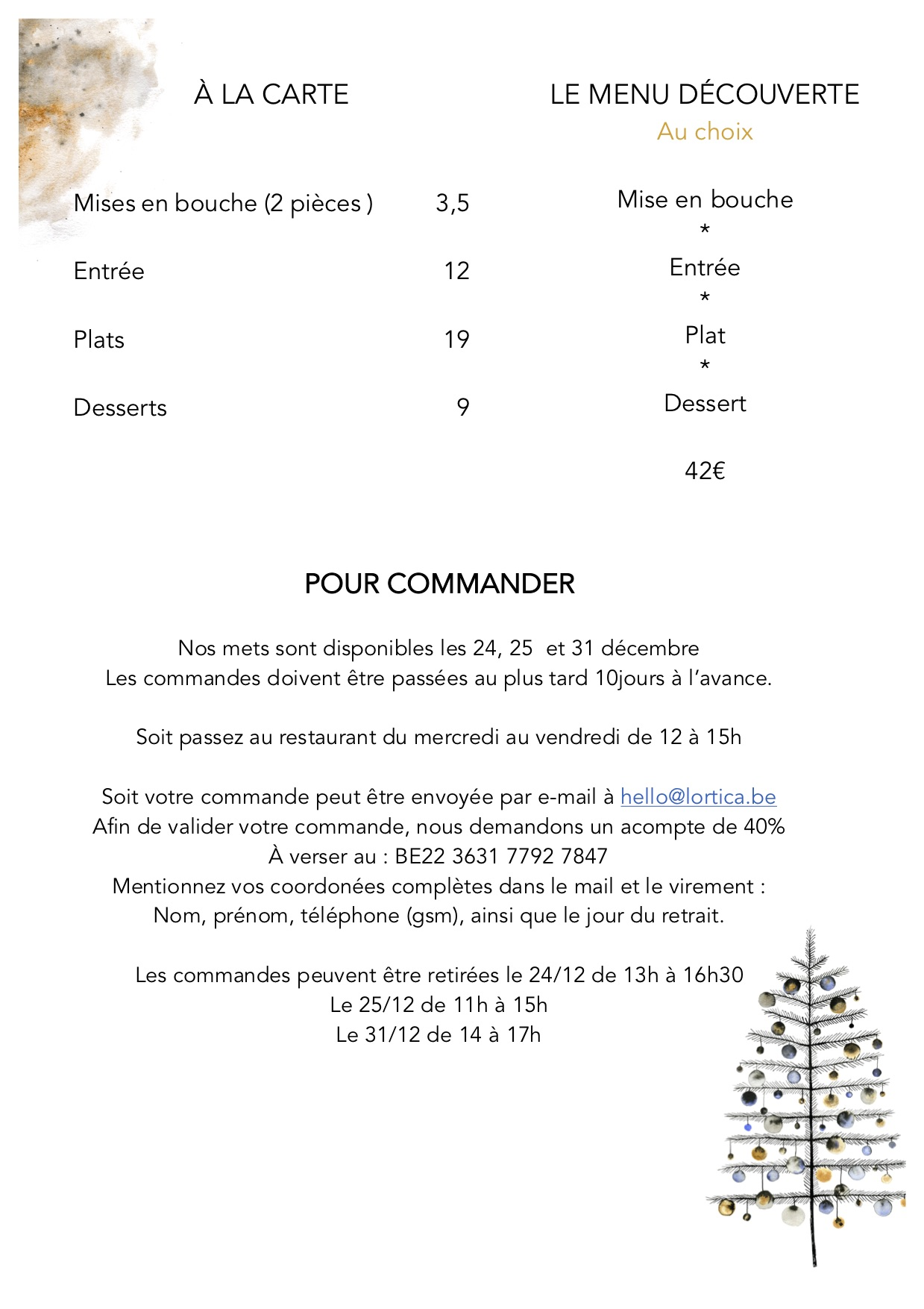 Menu noel & nouvel an L'ortica p4